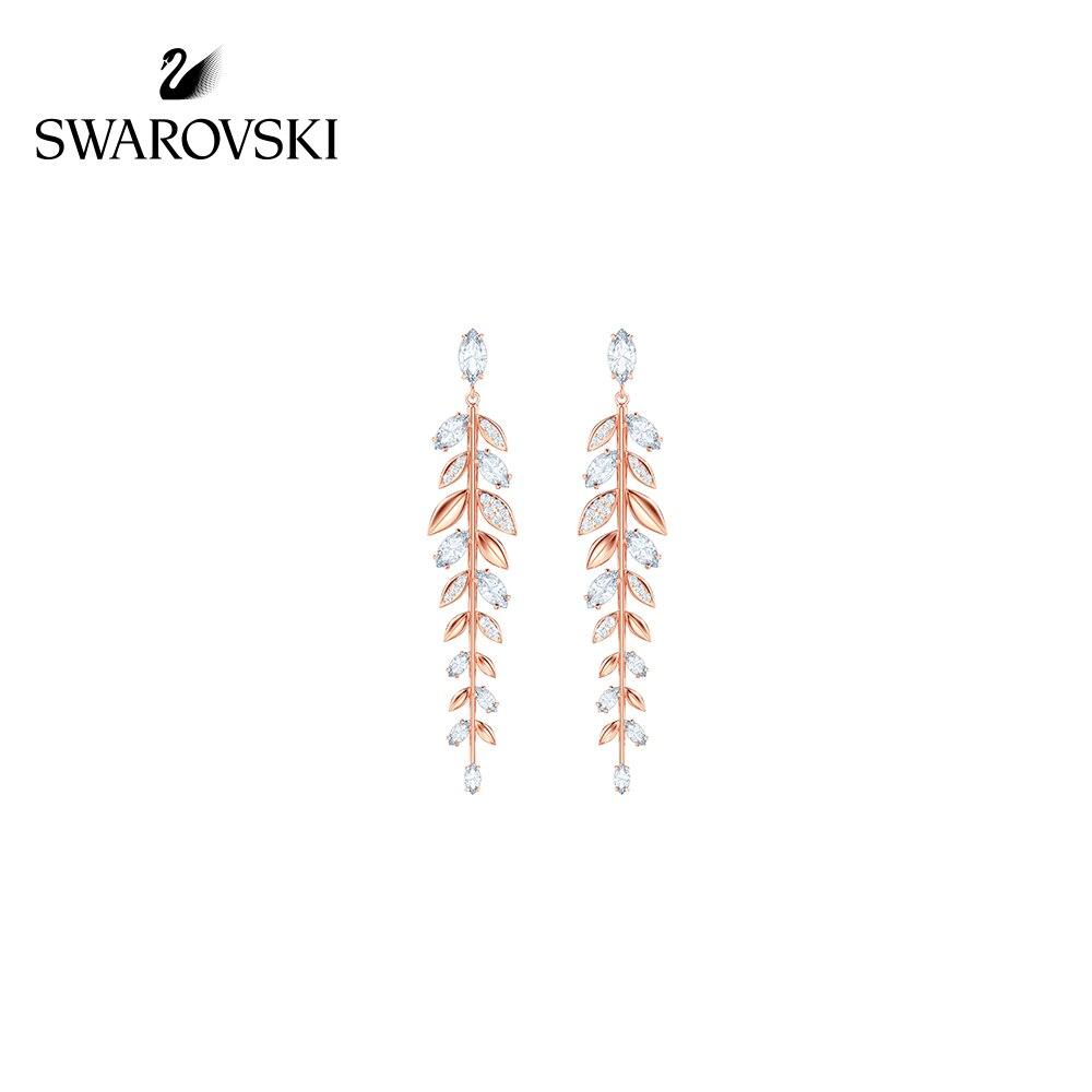 Original véritable Swarovski MAYFLY branches et feuilles fraîches mode longue femme boucles d'oreilles longue ligne d'oreille bijoux 5410410-02