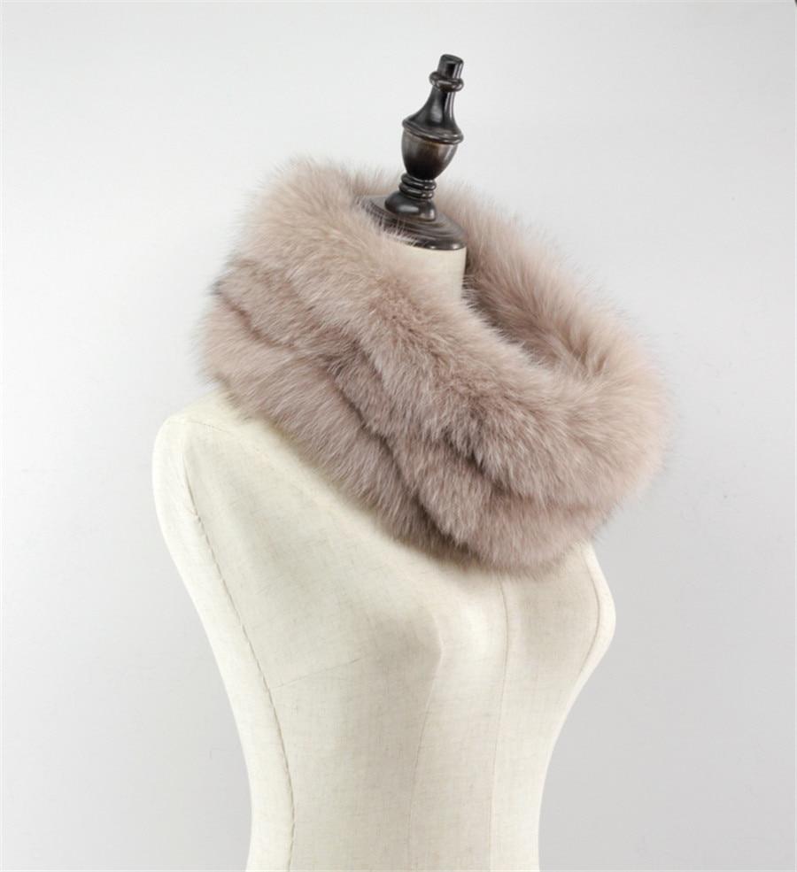 Fashion Women's Real Genuine Fox Fur Snood Neck Warmer Cowl Endless Scarf Scarve