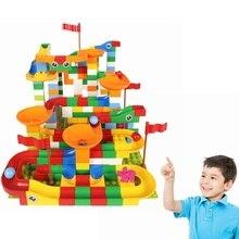43-148PCS Plastic Marble Race Run Maze Ball Track Building Blocks Bricks Big Size Funnel Slide Toy Compatible legoINGLYS Duploed цены