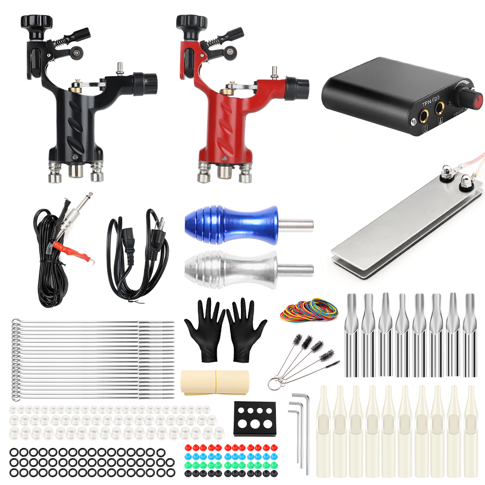 Solong Tattoo Machine Set Two Coil Machine For Liner and Shader Power Supply Foot Pedal Grip Needles Tattoo Body&Art TK201-16 imc hot 10 pcs rj45 8p8c double ports female plug telephone connector
