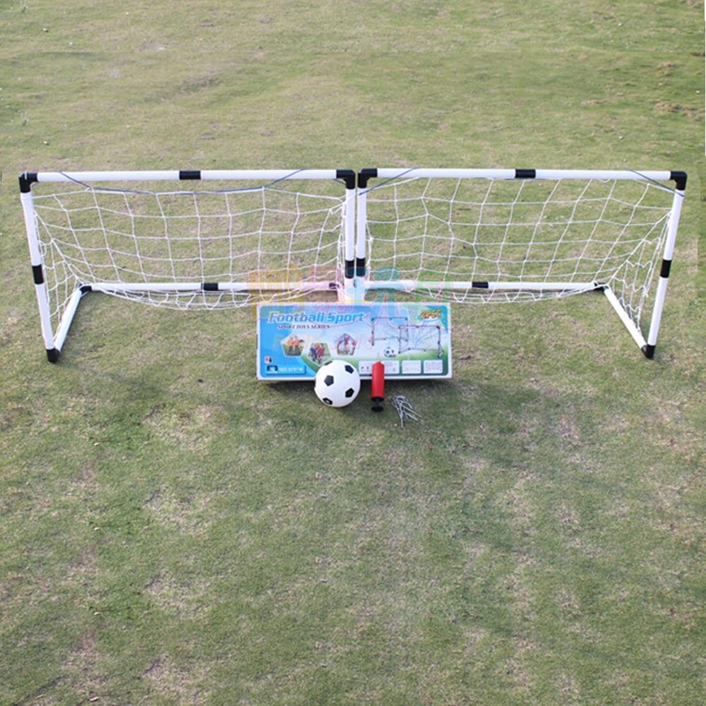 2Pcs Mini Football Soccer Ball Goal Folding Post Net + Pump Kids Sport Indoor Outdoor Games Toys Kids(China)