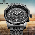 2016 Megir Mens Watches Top Brand Luxury Chronograph Watches Stainless Steel Wrist Watch Man Clock Quartz Watch Relojes Hombre