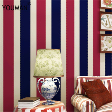 Home Improvement Modern Red Blue Vertical Stripes Wallpaper TV Room Living Room Paper Wall Decor Simple Striped Wall paper simple wide vertical stripes wallpaper for walls yellow beige and white wall paper