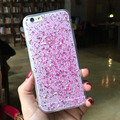 Pink Glitter Cases Cover For Apple iphone 5 5s 5SE 6 6s 6s plus 7 7plus Clear Transparent shell covers free shipping