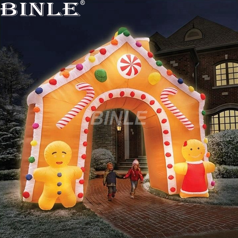 Air shipping Christmas archway airblown animated inflatable gingerbread house with led lights for yard decoration informotion animated infographics
