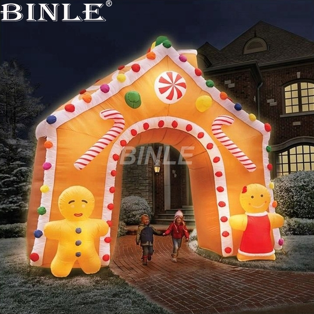 air shipping christmas archway airblown animated inflatable gingerbread house with led lights for yard decoration - Christmas Gingerbread House Yard Decoration