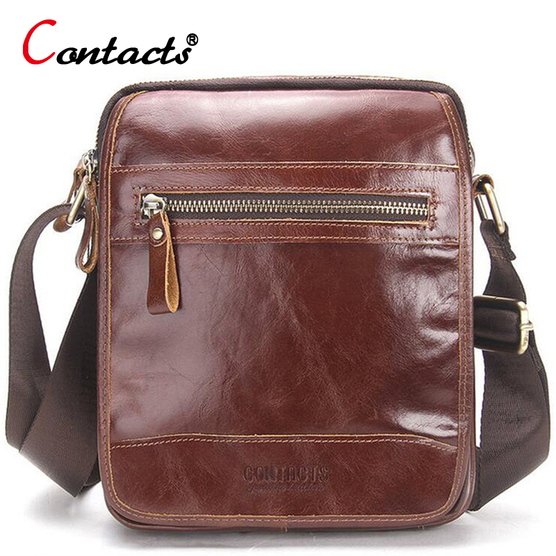 CONTACT S Men Messenger Bags Men Genuine Leather Bag Famous Brand Male Crossbody Bags Business Birefcases