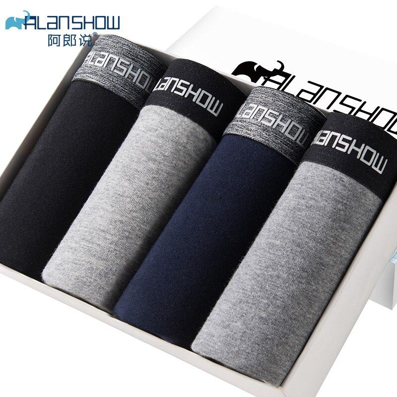 ALANSHOW 4Pcs/lot Mens Underwear Soft Boxers Cotton Boxer Men Solid Boxer Shorts Plus Size Boxers Comfortable Mens Underwear