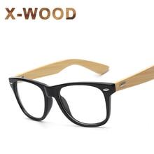 X-WOOD Optical Lens Half Of Bamboo Sunglasses For Men Nerd Geek Style Clear Lens Rivets Sun Glassses Boys Brand Designer UV400