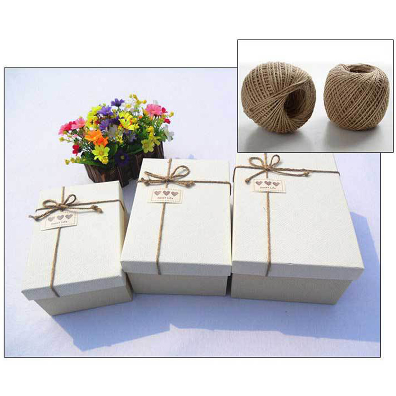 100m roll Natural Jute Rope Hessian Burlap Rope String DIY Gift Packing Cords Party Wedding Home Decoration in Cords from Home Garden