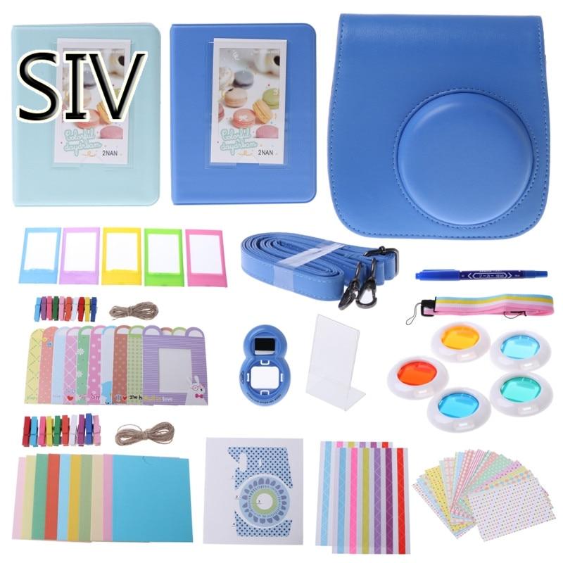 SIV Camera Bag Pure blue 14 Pcs/Set Vintage Camera Bag Case Kit For Fujifilm Instax Mini9 With Selfie Lens
