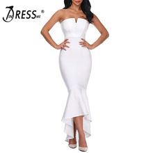 INDRESSME Mulheres Bandage Vestido Elegante Strapless Mid-Bezerro Sereia Branco Sólido Lady Partido Vestido Vestidos 2018 Nova