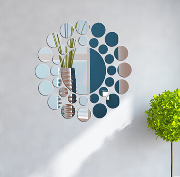 3D rond combinaison ensemble miroir autocollants acrylique cristal vinyle Art Mural Sticker chambre décoration canapé TV fond mur