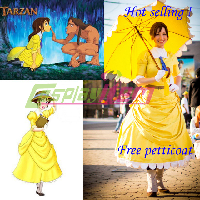 Hot selling custom made movie tarzan cosplay costume princess jane hot selling custom made movie tarzan cosplay costume princess jane dress includes the dress and gloves solutioingenieria Image collections