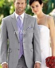 Popular Style Two Buttons Light Grey Groom Tuxedos Groomsmen Men's Wedding Prom Suits Bridegroom (Jacket+Pants+Vest+Tie) K:1130