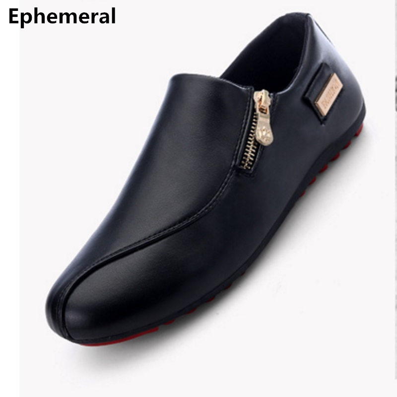 Flats man loafers shoes pointed toe high quality big size 46-39 black white orange slip-on pu leather new arrival 2017 Ephemeral pu pointed toe flats with eyelet strap