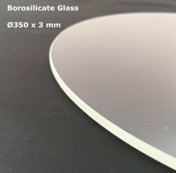 Bilgisayar ve Ofis'ten 3D Yazıcı Parçaları ve Aksesuarları'de Borosilikat Cam Yuvarlak 350mm * 3mm TEVO Küçük Canavar Delta 3D Yazıcı Inşa Baskı Plakası Şeffaf Renk title=
