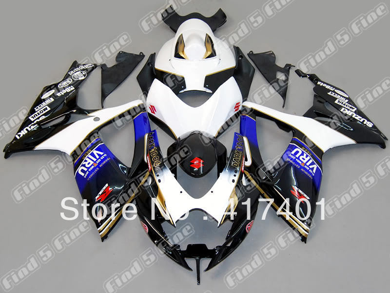 white black blue for SUZUKI GSX R600 R750 06-07 GSXR 600 750 GSXR600 GSXR750 GSX-R600 GSX-R750 K6 06 07 2006 2007 full body kit