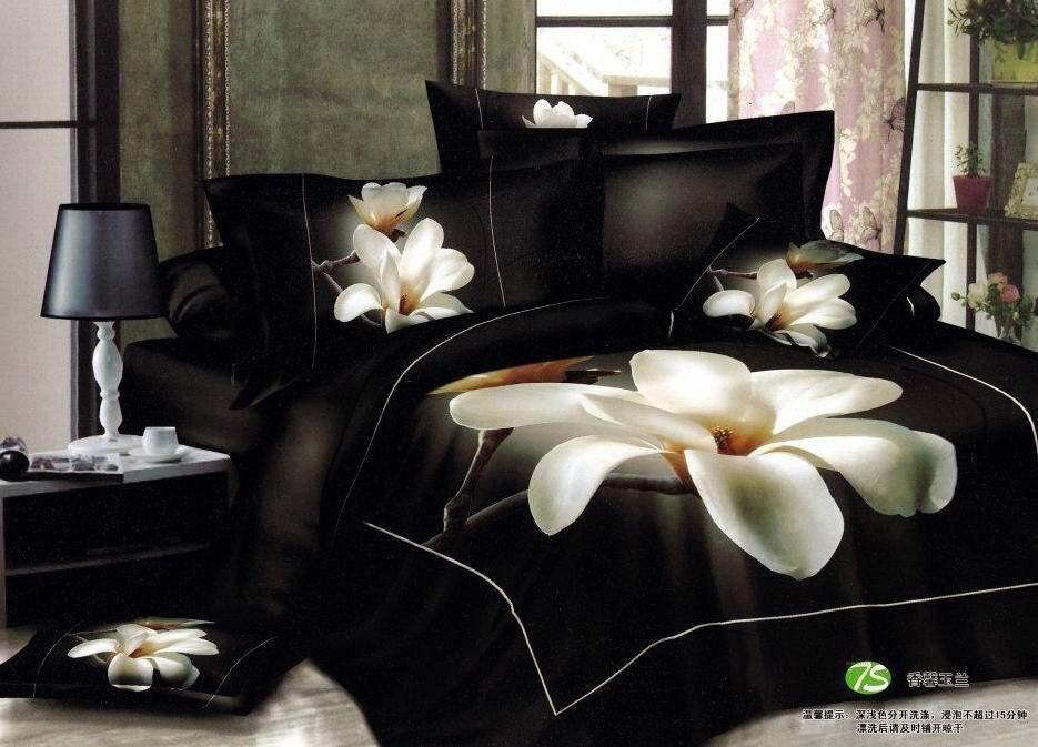 Black White Floral Bedding Set Sets King Queen Size Duvet Cover Bed Sheet Sheets Bedspread Flower