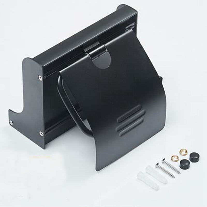 Bathroom Toilet Paper Holder Toilet Roll Paper Rack with Phone Shelf Wall Mounted Aluminum Black Sliver