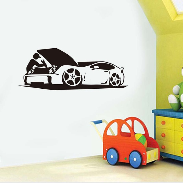 Auto car repair shop wall stickers waterproof art mural removable vinyl wall decals home decor for