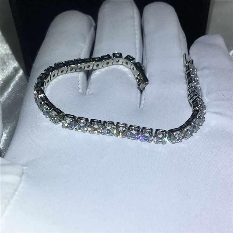 Choucong moda femenina oro blanco lleno pulsera 4mm AAAAA Zircon cz colores plata pulseras de boda para mujer joyería de moda