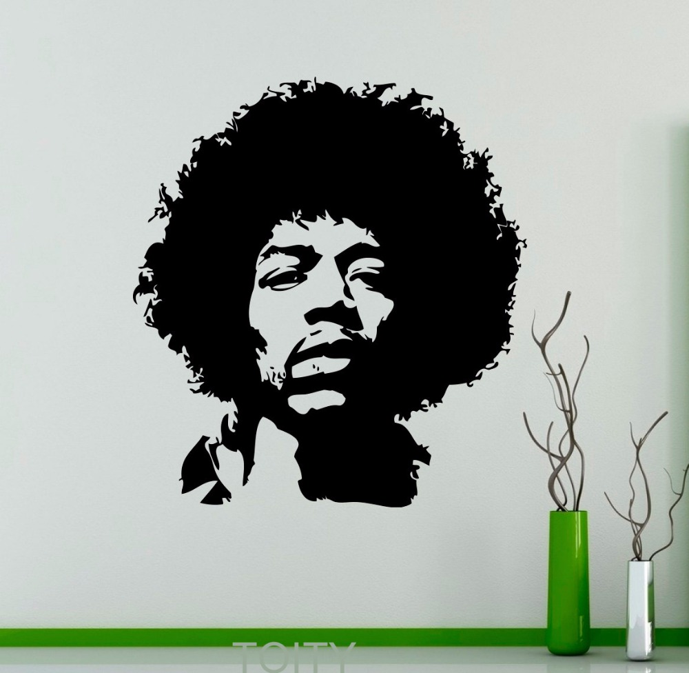 Jimi hendrix wall decal rock music guitarist vinyl sticker for Baby boy tupac mural