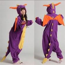 Купить с кэшбэком Flannel winter dinosaur pajamas set ladies pajamas animal jumpsuit Cosplay unisex party carnival costume
