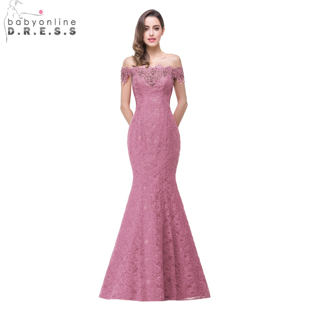 Elegant Evening Dresses Crystal Beaded Red Royal Blue Lace Mermaid Long 2020 Prom Dress Cocktail Party Gown Women Robe DeSoiree