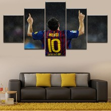 цена на Modern Wall Picture Canvas Painting Framework 5 Panel Sports Lionel Messi Art Poster Home Decor Print On Canvas For Living Room