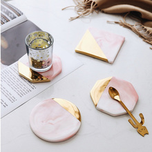 Lovely Pink Coffee Tea Cup Place Mats Marble Coasters Ceramic Pad Round Table Mat
