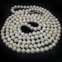 48 inches 7 8 mm Long Chain Natural White Round Freshwater Pearl Necklace with Heart Shaped 925 Sterling Silver Clasp