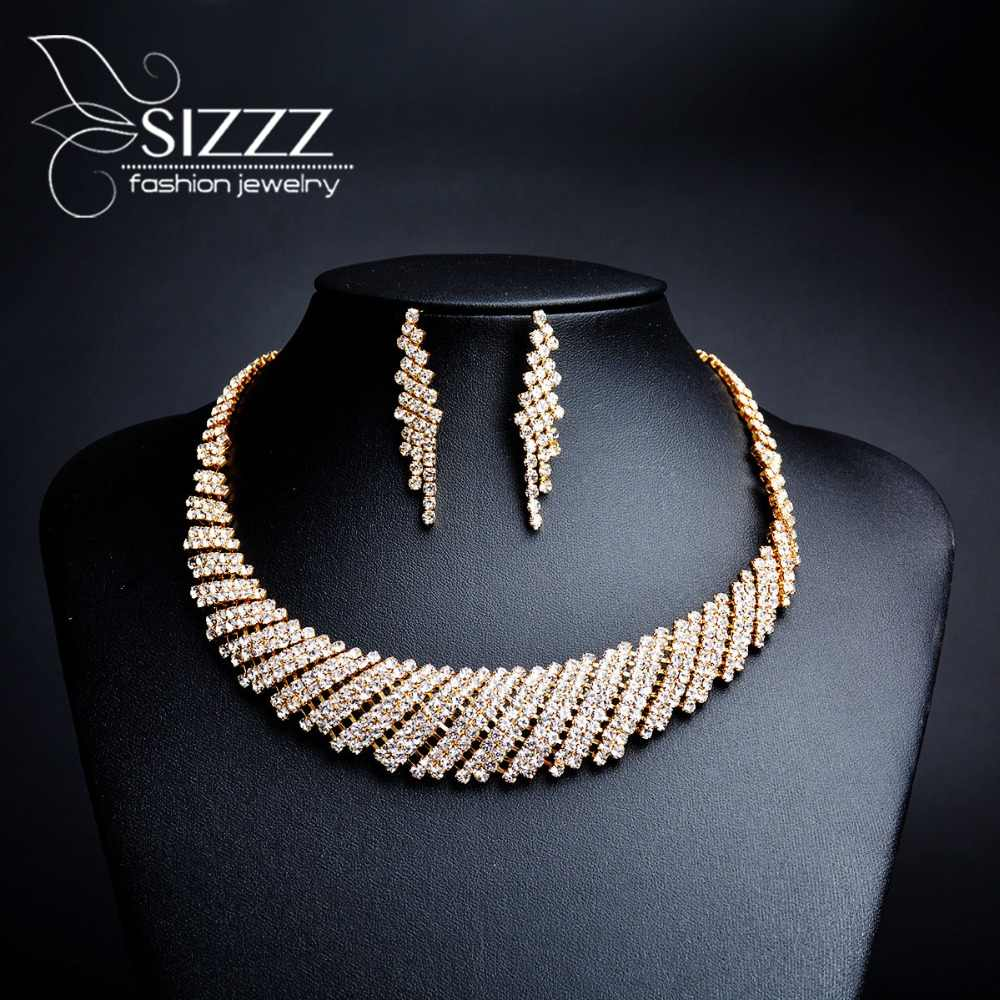 2019 Vintage Crystal Bridal Wedding Jewelry Sets African Beads Gold Color Rhinestone Women Necklace Sets Engagement Jewelry