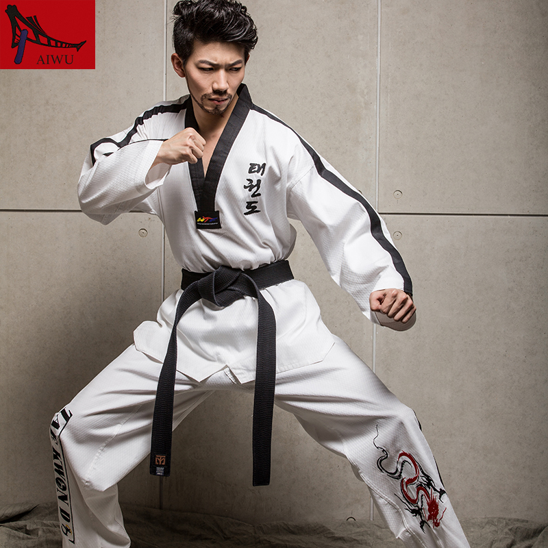 Martial Arts TKD Tae Kwon Do Korea V-neck Adult Taekwondo Master Uniform for Poomsae & Training,WTF Uniform,160-190cmMartial Arts TKD Tae Kwon Do Korea V-neck Adult Taekwondo Master Uniform for Poomsae & Training,WTF Uniform,160-190cm