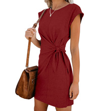 Women Loose Round Neck Dress Short Sleeve Solid Color Casual Bandwidth Short Sleeve Dresses For Ladies 2019 Fashion Plus Size casual round neck short sleeve plus size denim dress for women