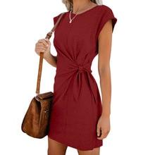Women Loose Round Neck Dress Short Sleeve Solid Color Casual Bandwidth Short Sleeve Dresses For Ladies 2019 Fashion Plus Size stylish round neck short sleeve slit plus size dress for women