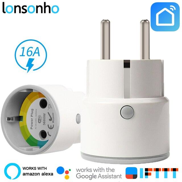 Lonsonho inteligentna wtyczka inteligentne gniazdo WiFi 16A 3680 W ue KR wtyczka zasilania monitora energii wygaszacz działa z Google domu Mini Alexa IFTTT