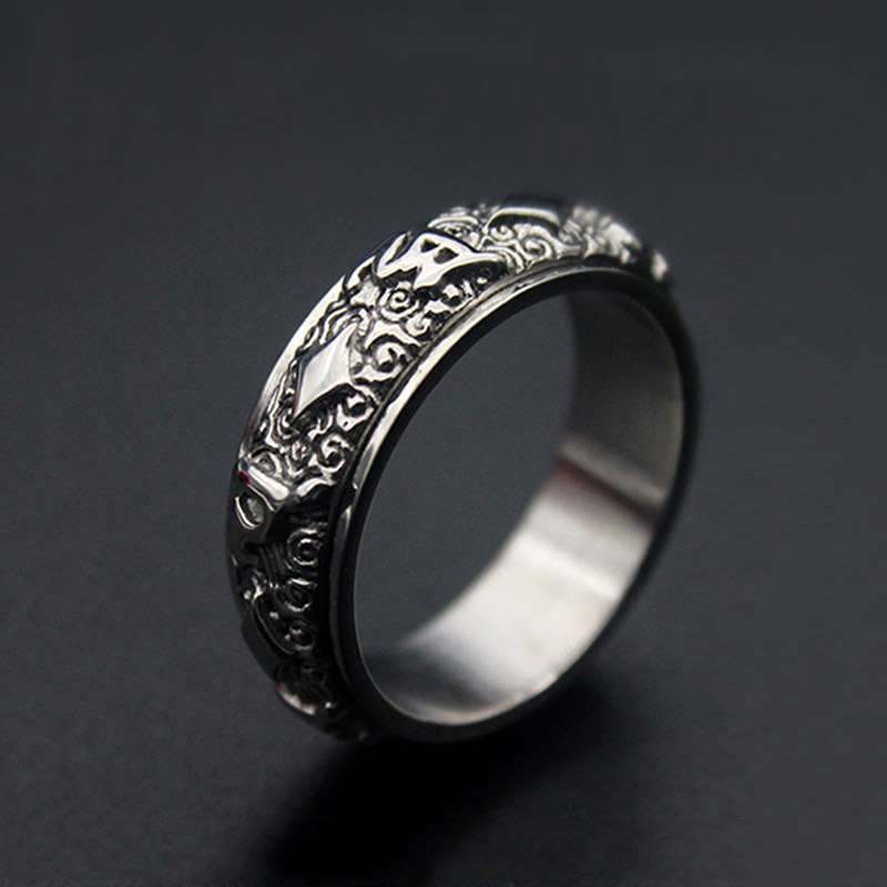 Fashion Rotatable ethnic totem Round Pattern Rings silver Color Stainless Steel Jewelry For Women man Gift Top Quality image