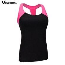 VEAMORS, женские быстросохнущие топы-рубашки для йоги, беспроволочные мягкие противоударные спортивные бюстгальтеры, дышащие майки для фитнеса и бега, спортивные майки