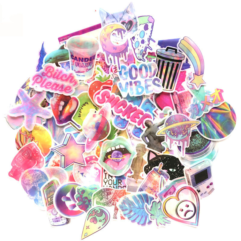 70pcs Glitter Laser Vinyl Computer Laptop Skin Stickers Cute Pink Girl Series Sticker Kids Toys for Macbook/ Moto Car/Suitcase-in Laptop Skins from Computer & Office