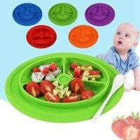 Placa bebé de Silicona de Grado de Alimentos Aperitivos Dulces Frutero Plato de Comida antideslizante Resistente Al Calor Vajilla Para Niños Alimentación
