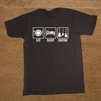 New Funny Eat Sleep Guitar Bass Electric Acoustic Guitarist Music T Shirt Men Tshirt Man Clothing