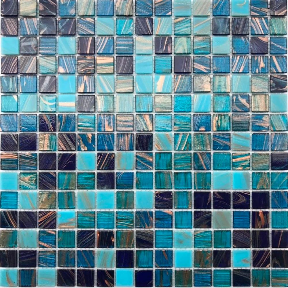 iridescent gole line blue white glass mosaic tile for kitchen backsplash bathroom shower wall tile sticker free shipping 22 pcs