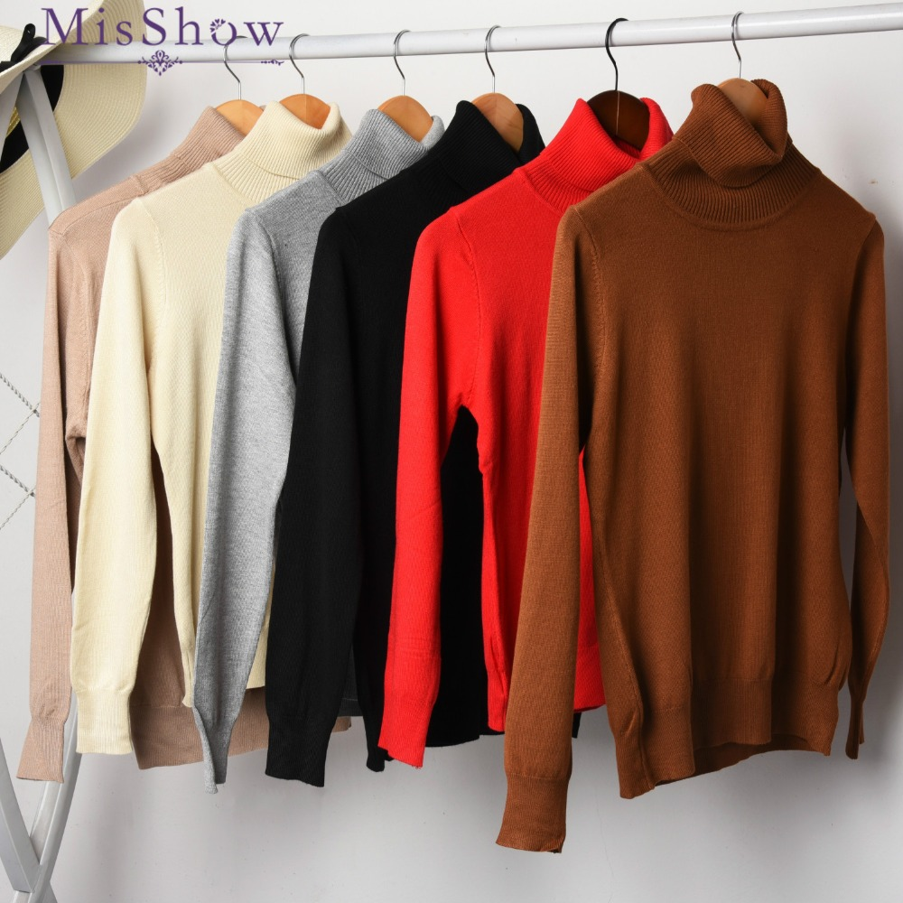 Las mujeres de lana de Cachemira suéter de punto jersey mujer Slim elástico de punto señoras suéter Otoño Invierno de punto cuello alto Top básico