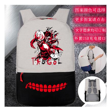 New designed High Q  anime  tokyo ghoul  printing backpacks  unisex waterproof USB charge backpack for student