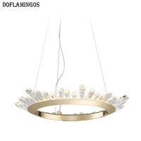 Post Modern K9 Crystal Plate Gold Chrome Round Luxury Lustre