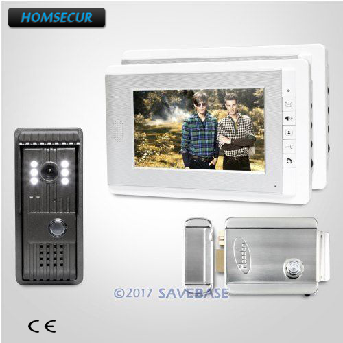 HOMSECUR 7inch Wired Video Security Door Phone with IR Night Vision for Home Security+2 Monitors+1 Camera+Remote Control