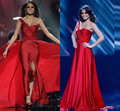 Amazing Sexy Celebrity Dresses Miss Universe One-Shoulder Beads Embellished Side Slit Prom Dresses Evening Gowns Vestidos XY341
