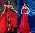 Increíble Sexy Celebrity Vestidos de Miss Universo de Un Solo Hombro Beads Embelleció la Raja Del Lado Vestidos de Baile Vestidos de Noche Vestidos XY341
