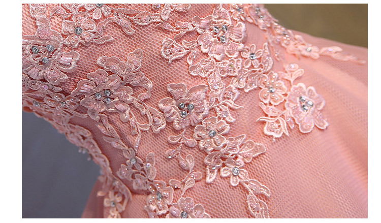 Short Evening Dress 2018 Sweet Pink O-neck Lace Ball Gown New Bride Party Formal Dress Custom Homecoming Dresses Robe De SoireeC 14